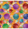 Seamless christmas background balls and boxes vector