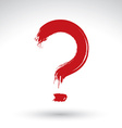 Hand drawn red question mark icon brush drawing vector