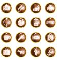 Round brown high-gloss office buttons vector