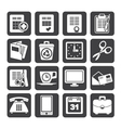 Silhouette business and office tools icons vector