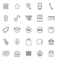 Shopping line icons on white background vector