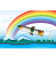 A rainbow above the ocean and an aircraft vector