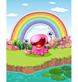 A monster at the pond with a rainbow in the sky vector