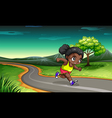 A black girl jogging vector