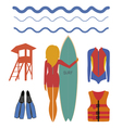 Girl surfer and water sport vector