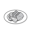 Plate of beef vector