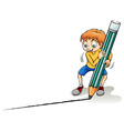 A boy drawing a line vector