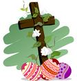 Easter eggs with white flower vector
