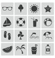 Black summer icons set vector