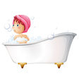 A young girl taking a bath vector
