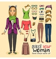Hipster pretty girl with accessories vector