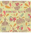 Retro summer love birds pattern vector