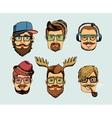 Hipster man heads avatars vector