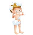 A kid taking a bath vector
