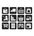 Silhouette cargo and shipping icons vector