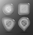 Globe glass buttons vector