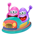 Monsters riding on a bumpcar vector