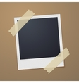 Taped retro style photo frame vector