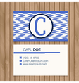 Business card with alphabet letter on a wood vector