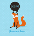 Greeting card with cute fox holiday backdrop vector
