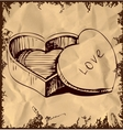 Heart shaped box on vintage background vector