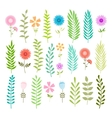 Set of spring leaves and flowers vector