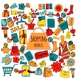 Shopping doodle colored set vector