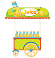 A wooden juice cart vector