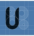 Round engineering font symbol u vector