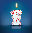 Candle letter f with flame vector