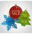 Christmas sale tags on a snowy background vector