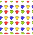 Seamless pattern with colorful tea mugs vector