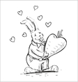 In love rabbit holding heart shaped carrot vector