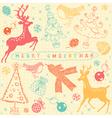 Vintage christmas deer pattern card vector