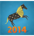 New year origami paper horse 2014 celebration card vector