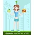 Woman choosing between eat apple or hamburger vector