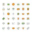 Business flat design icon set money shopping bank vector