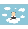 Businessman sitting on a cloud with notebook vector