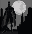 Super hero over city vector