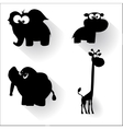 Funny cartoon animals silhouettes vector
