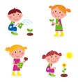Gardening children collection vector
