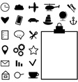 Collection of black icons on white background vector