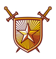 Star shield with crossed swords vector