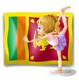 The flag of sri lanka and the gymnast vector