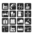Silhouette business and industry icons vector