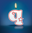 Candle letter q with flame vector