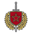 Star badge with sword and laurel wreath vector