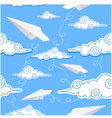 Seamless background with paper airplane and decora vector