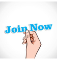 Join now word in hand vector