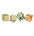 Word life written with alphabet blocks vector